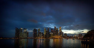 Financiële het districtshorizon van Singapore Royalty-vrije Stock Afbeeldingen