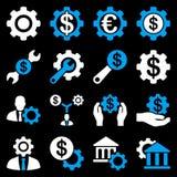 Financiële hulpmiddelen en optiespictogramreeks Stock Foto