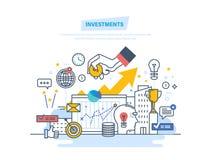 Financiële investeringen, marketing, financiën, analyse, veiligheids financiële besparingen en geld stock illustratie
