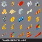Financiële statistieken vlakke isometrische pictogrammen vector illustratie