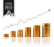Financiële stijging met het knippen van weg Stock Afbeeldingen