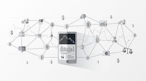 Financiële technologie FinTech en grafische handelsinvesteringeninlichtingen Stock Foto's