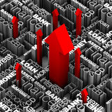 Financiële Woorden - Rode Pijlen omhoog Royalty-vrije Stock Afbeeldingen