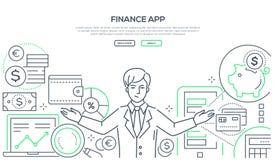 Financiën app - kleurrijke de stijl vectorillustratie van het lijnontwerp royalty-vrije illustratie