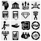 Financiën, bankwezen en geld vector geplaatste pictogrammen. Stock Foto
