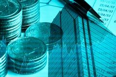 Financiën, bedrijfs en bankwezenconcept Dubbele blootstelling van geld, ci royalty-vrije stock afbeeldingen