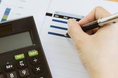 Financiën, bedrijfsbegroting planning of analyse concept, de pen van de handholding het herzien kwart en maandelijkse grafiek en  royalty-vrije stock afbeeldingen