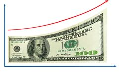 Financiën, de economiegroei door 100 ons dollar. Geïsoleerde Royalty-vrije Stock Fotografie