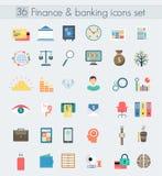 Financiën die moderne geplaatste ontwerp vlakke pictogrammen beleggen Geld en bedrijfseconomiesymboolvoorwerpen De elementen van  royalty-vrije illustratie