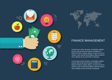 Financiën die vlakke illustratie met pictogrammen op de markt brengen royalty-vrije illustratie