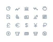Financiën en bankpictogrammen Lijnreeks royalty-vrije illustratie