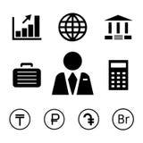 Financiën en bankpictogrammen met muntsymbolen royalty-vrije illustratie