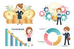 Financiën en bedrijfsgroepswerk royalty-vrije illustratie