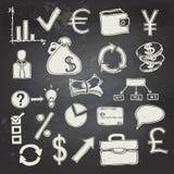 Financiën en bedrijfskrabbel op bord Royalty-vrije Stock Foto's