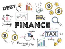 Financiën en de financiële illustratie van het prestatiesconcept royalty-vrije illustratie