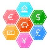 Financiën en de reeks van het geldpictogram Stock Foto's