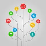 Financiën en geldconcept - kleurrijke boomillustratie Stock Afbeeldingen