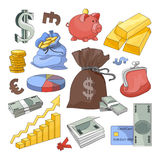 Financiën en Munt geplaatste pictogrammen vector illustratie