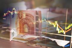 Financiën, geld en grafiek Royalty-vrije Stock Foto