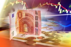 Financiën, geld en grafiek Stock Foto