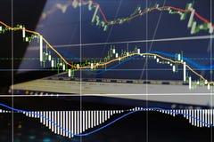 Financiën, geld en grafiek Stock Fotografie