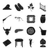 Financiën, geneeskunde, sport en ander Webpictogram in zwarte stijl vector illustratie