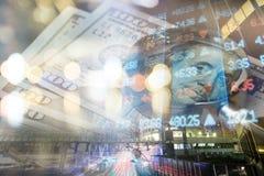 Financiën, het bank concept Euro muntstukken, ons het close-up van het dollarbankbiljet Abstract beeld van Financieel systeem met Stock Fotografie