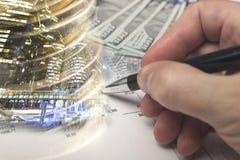Financiën, het bank concept Euro muntstukken, ons het close-up van het dollarbankbiljet Abstract beeld van Financieel systeem met Royalty-vrije Stock Foto
