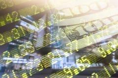 Financiën, het bank concept Euro muntstukken, ons het close-up van het dollarbankbiljet Abstract beeld van Financieel systeem met Royalty-vrije Stock Afbeelding