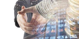 Financiën, het bank concept Handdruk Abstract beeld van Financieel systeem met selectieve nadruk, gestemde, dubbele blootstelling Stock Foto