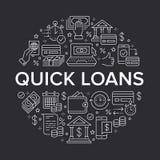 Financiën, van het de cirkelmalplaatje van de geldlening vlakke de lijnpictogrammen Snelle kredietgoedkeuring, munttransactie, ge stock illustratie