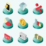 Financiën vlakke isometrische pictogrammen stock illustratie