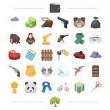 Financiën, wapens, dier en ander Webpictogram in beeldverhaalstijl onderwijs, sporten, reispictogrammen in vastgestelde inzamelin Stock Foto's
