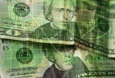 Financiënachtergrond met geld en met voorraadgrafiek stock afbeelding