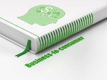 Financiënconcept: boekhoofd met Financiënsymbool, zaken-aan-Consument op witte achtergrond Royalty-vrije Stock Afbeelding