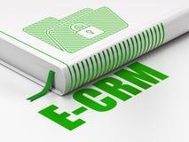 Financiënconcept: boekomslag met Slot, e-CRM op witte achtergrond Stock Afbeeldingen
