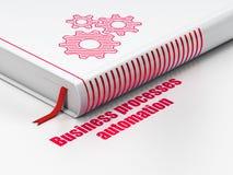 Financiënconcept: boektoestellen, Bedrijfsprocessenautomatisering op witte achtergrond Stock Fotografie