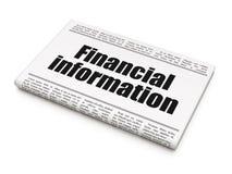 Financiënconcept: de Financiële informatie van de krantenkrantekop Stock Fotografie