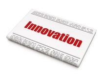 Financiënconcept: de Innovatie van de krantenkrantekop Stock Afbeelding