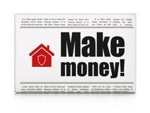 Financiënconcept: de krant met maakt Geld! en Huis Royalty-vrije Stock Foto's