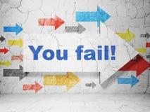 Financiënconcept: de pijl met u ontbreekt! op de achtergrond van de grungemuur Stock Afbeeldingen