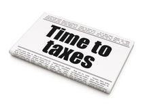 Financiënconcept: de Tijd van de krantenkrantekop aan Belastingen Stock Foto's