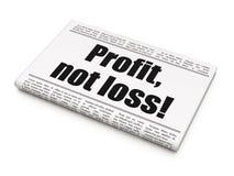 Financiënconcept: de Winst van de krantenkrantekop, niet Verlies! Stock Foto's