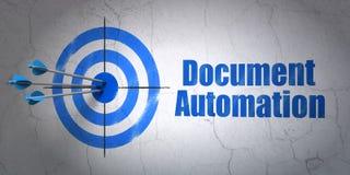 Financiënconcept: doel en Documentautomatisering op muurachtergrond Royalty-vrije Stock Foto