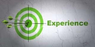Financiënconcept: doel en Ervaring op muurachtergrond Stock Foto's