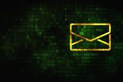 Financiënconcept: E-mail op digitale achtergrond Stock Fotografie