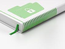 Financiënconcept: gesloten boek, Omslag met Slot op witte achtergrond Stock Fotografie