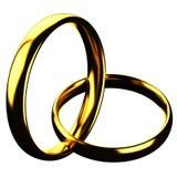 Financiënconcept: gouden die ringen op witte achtergrond worden geïsoleerd Stock Foto's