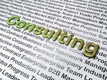 Financiënconcept:  Het raadplegen over Bedrijfsachtergrond Stock Foto