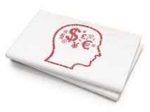 Financiënconcept: Hoofd met Financiënsymbool op Lege Krantenachtergrond Stock Afbeelding